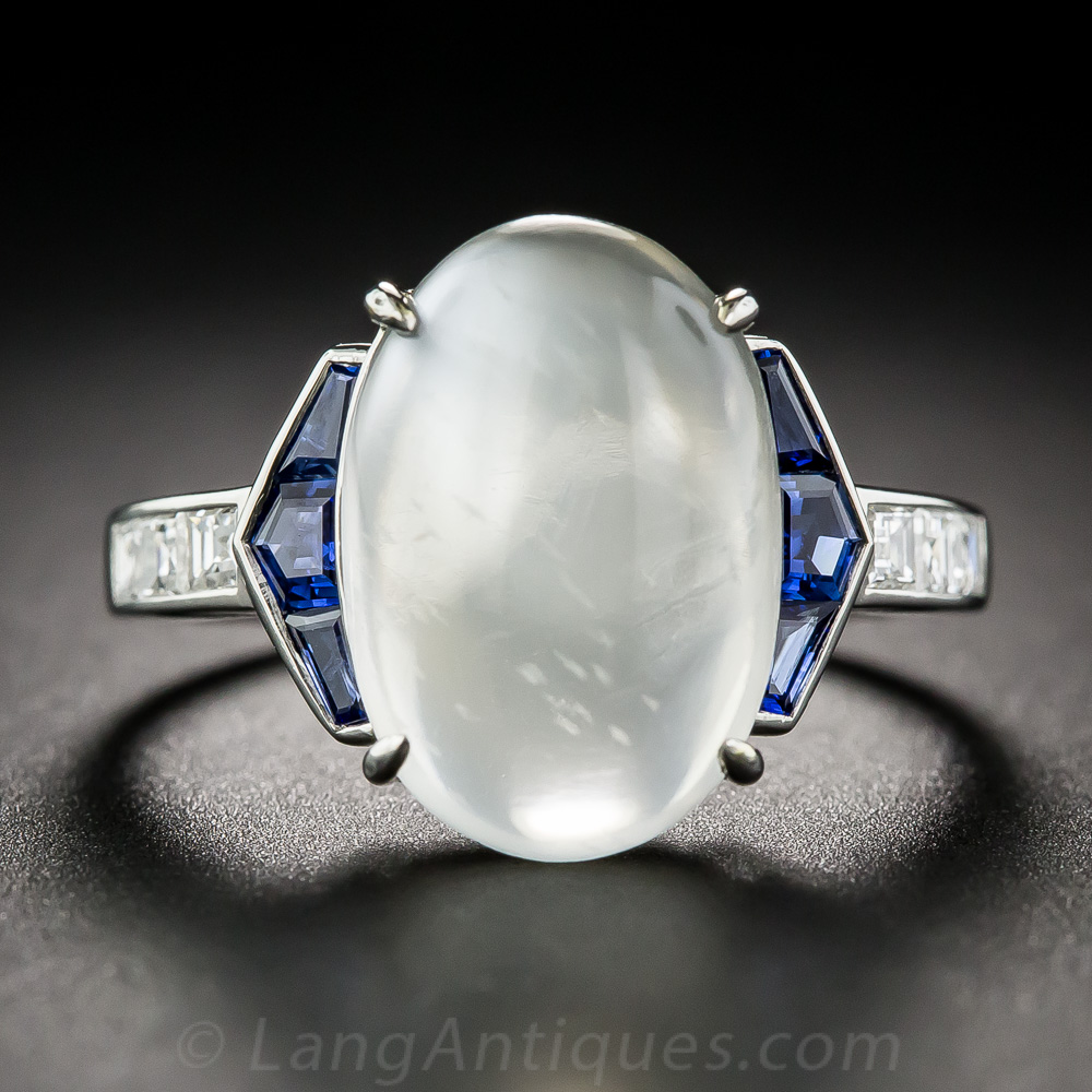 Moonstone Sapphire Platinum And Diamond Art Deco Style Ring