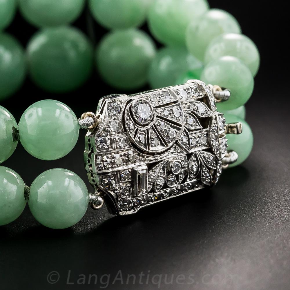 Art Deco Natural Burma Jade Bead Bracelet With Platinum
