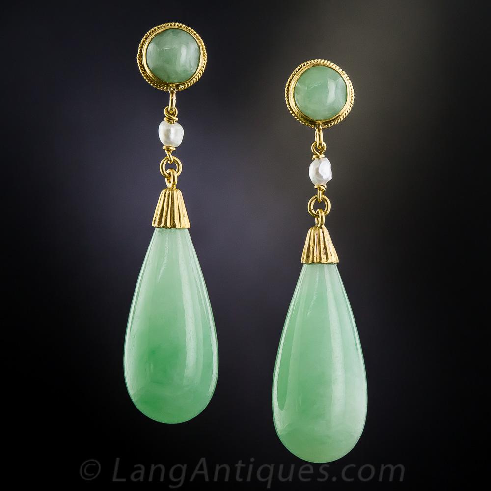 natural burmese jadeite drop earrings