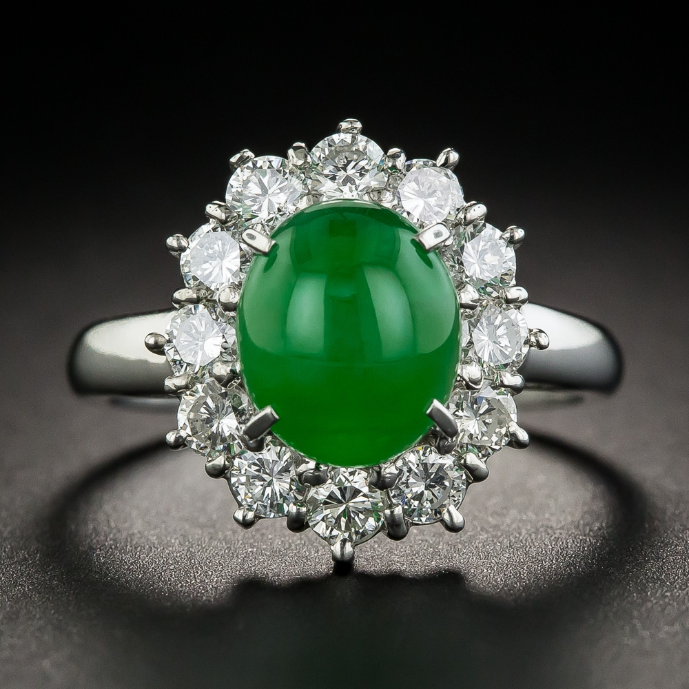 Natural Burmese Jadeite Platinum Diamond Ring
