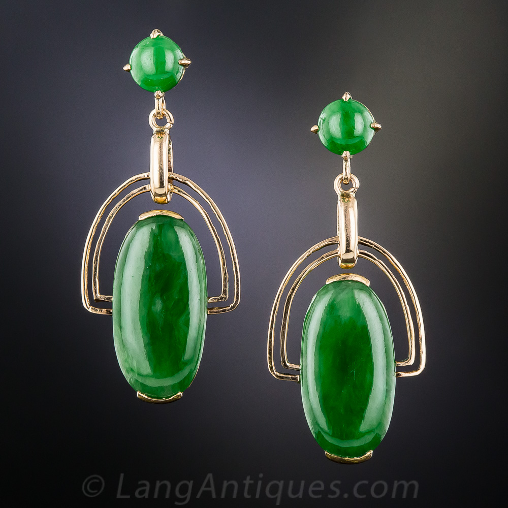 Natural Burmese Jadeite Vintage Drop Earrings