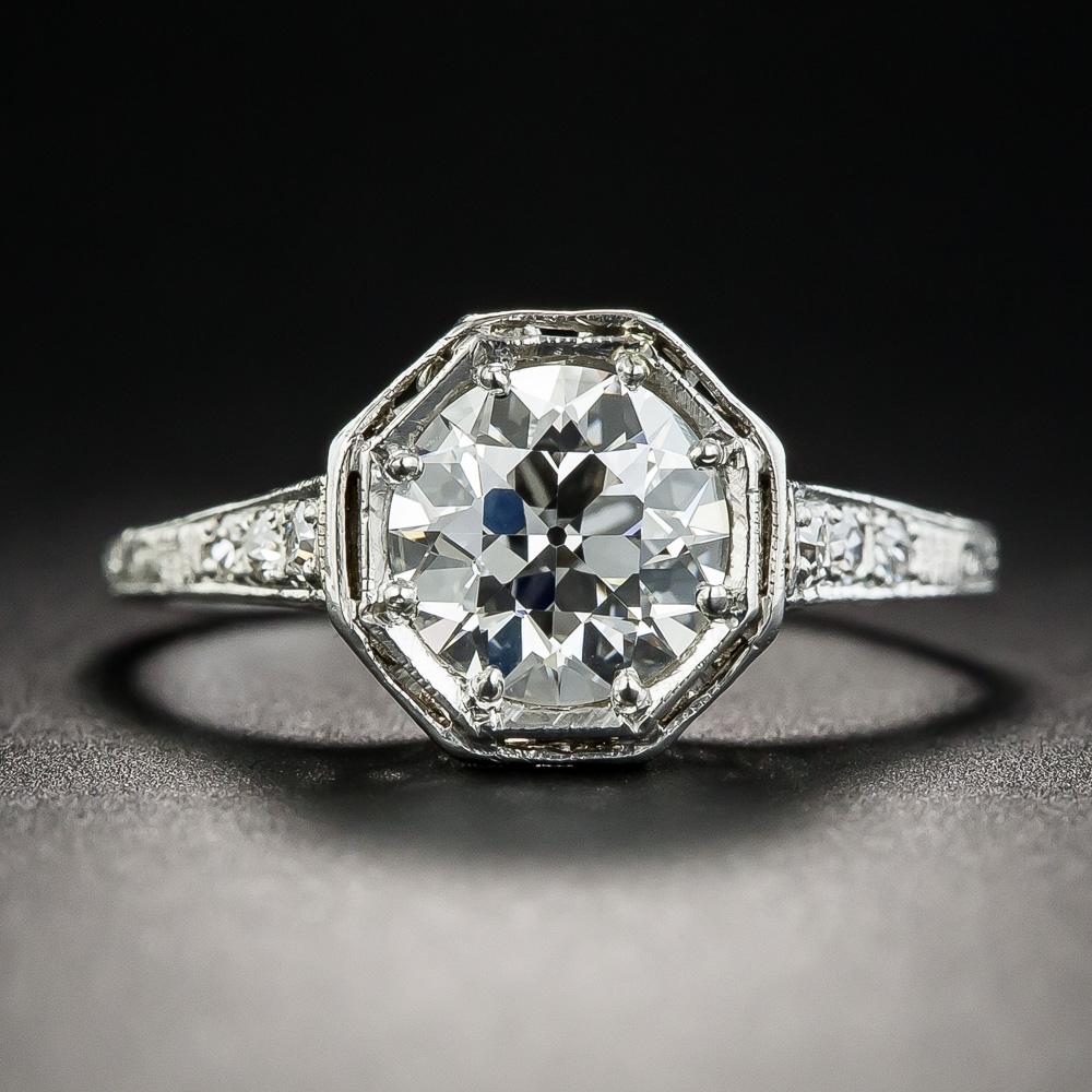 Neoclassical 1 39 Carat European Diamond Platinum