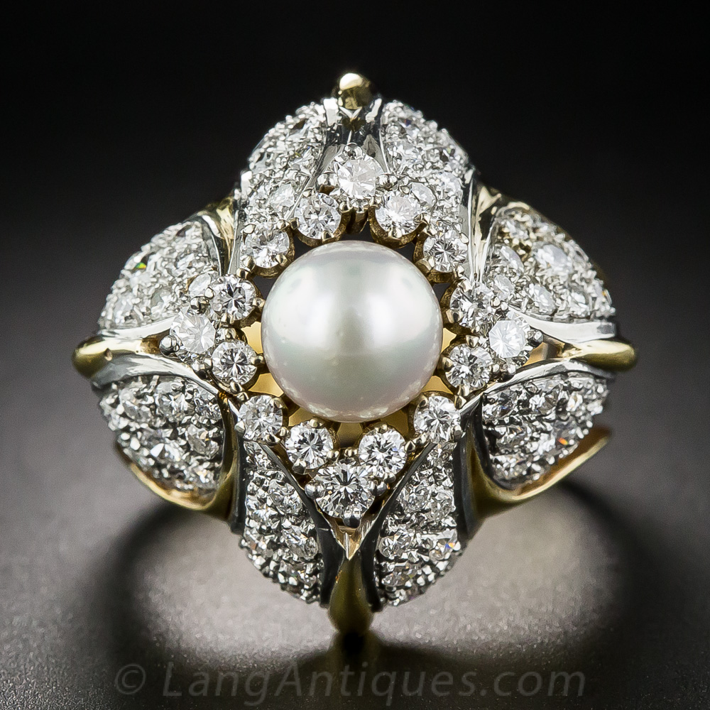 Pearl And Diamond Bombe Cocktail Ring
