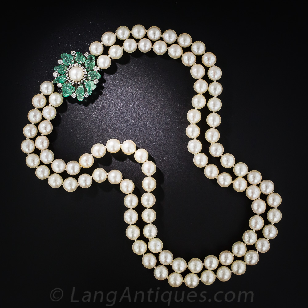 Pearl Necklace With Carved Emerald And Diamond Clasp