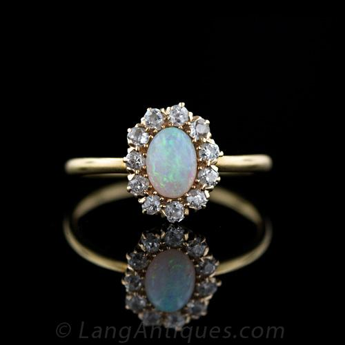petite victorian opal and diamond cluster ring