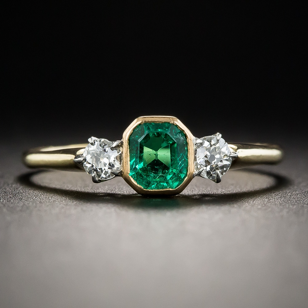 Petite Vintage Emerald And Diamond Ring