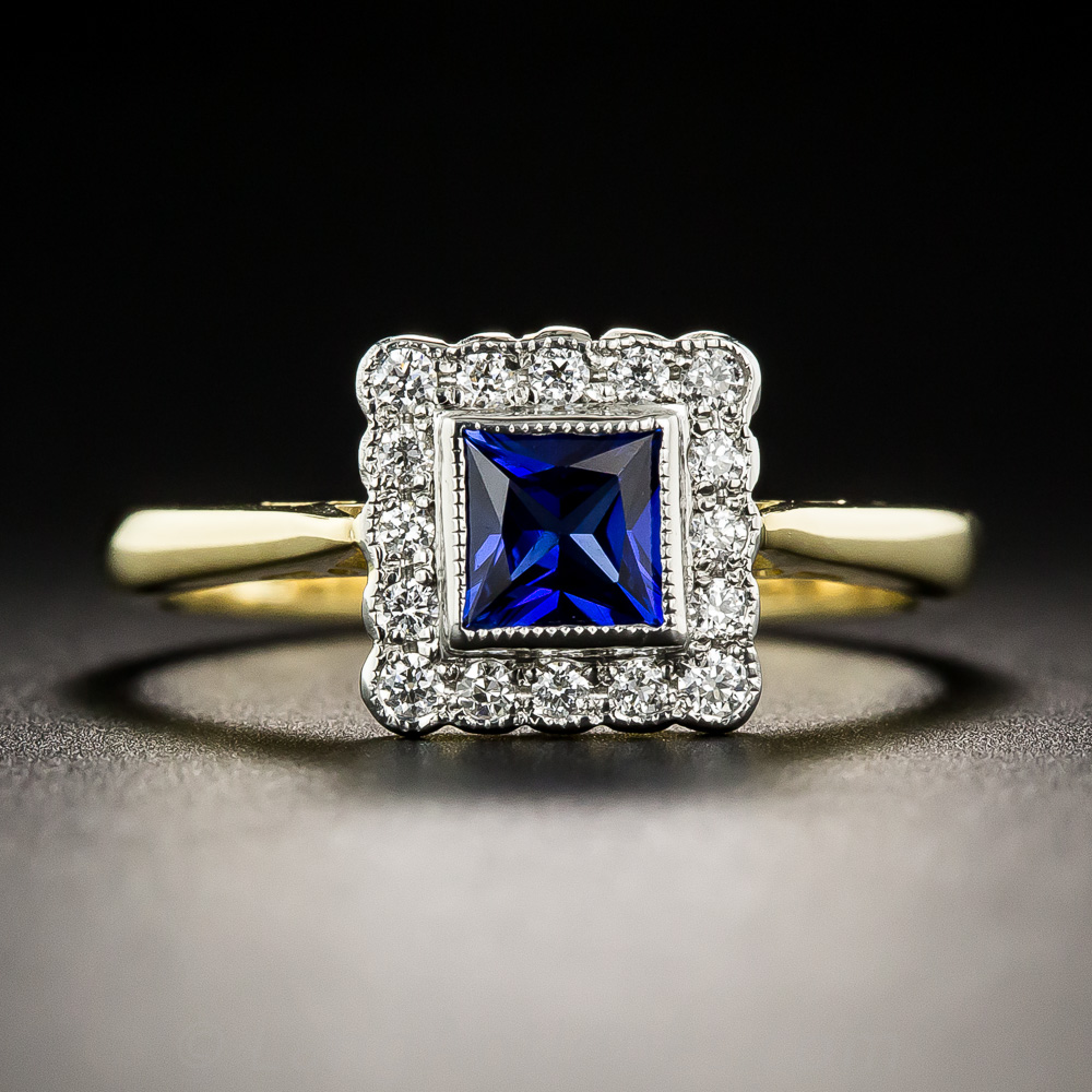 Petite Vintage Style Sapphire And Diamond Ring Antique Vintage Gemstone Rings Vintage Jewelry