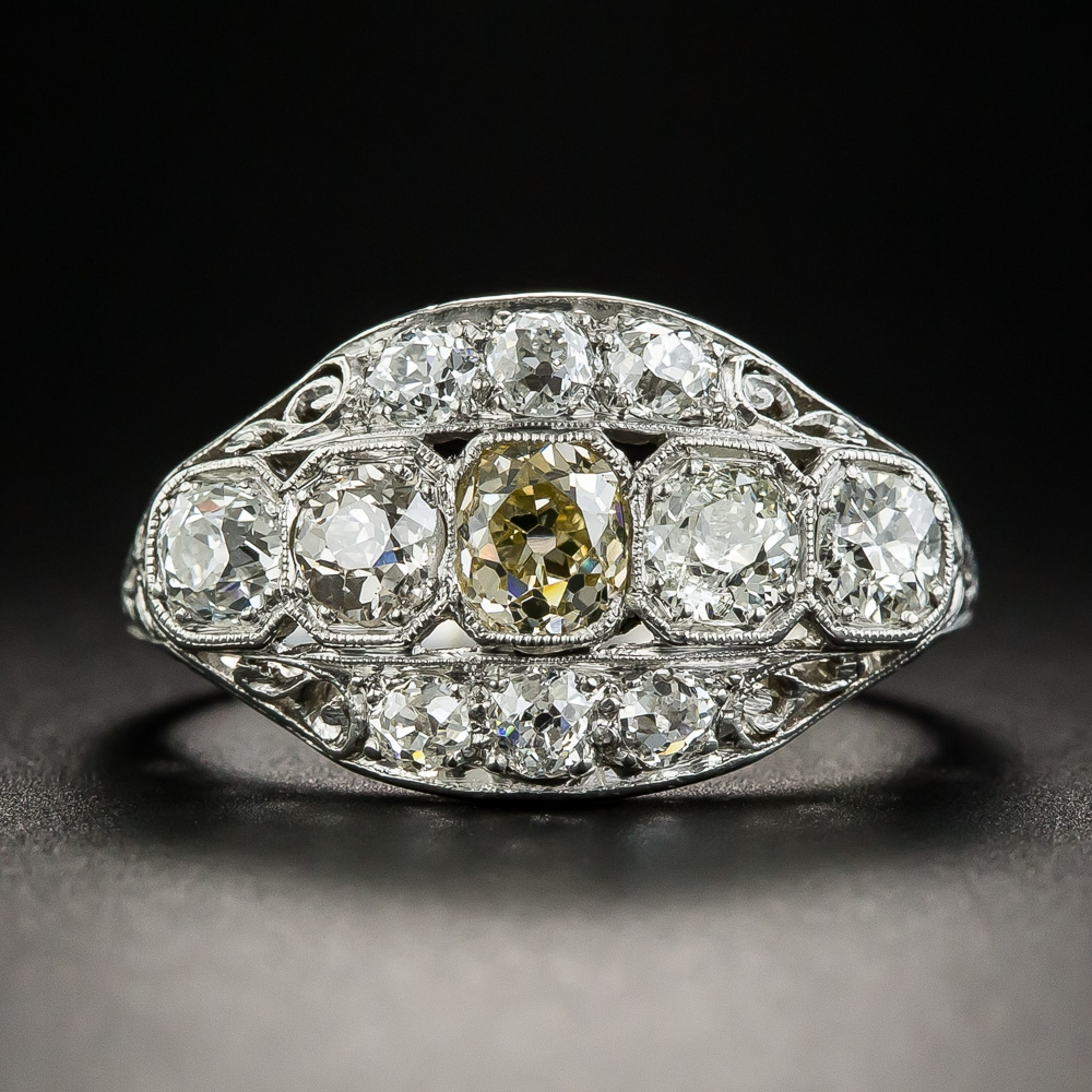 Platinum Art Deco Multi Diamond Ring Art Deco Jewelry