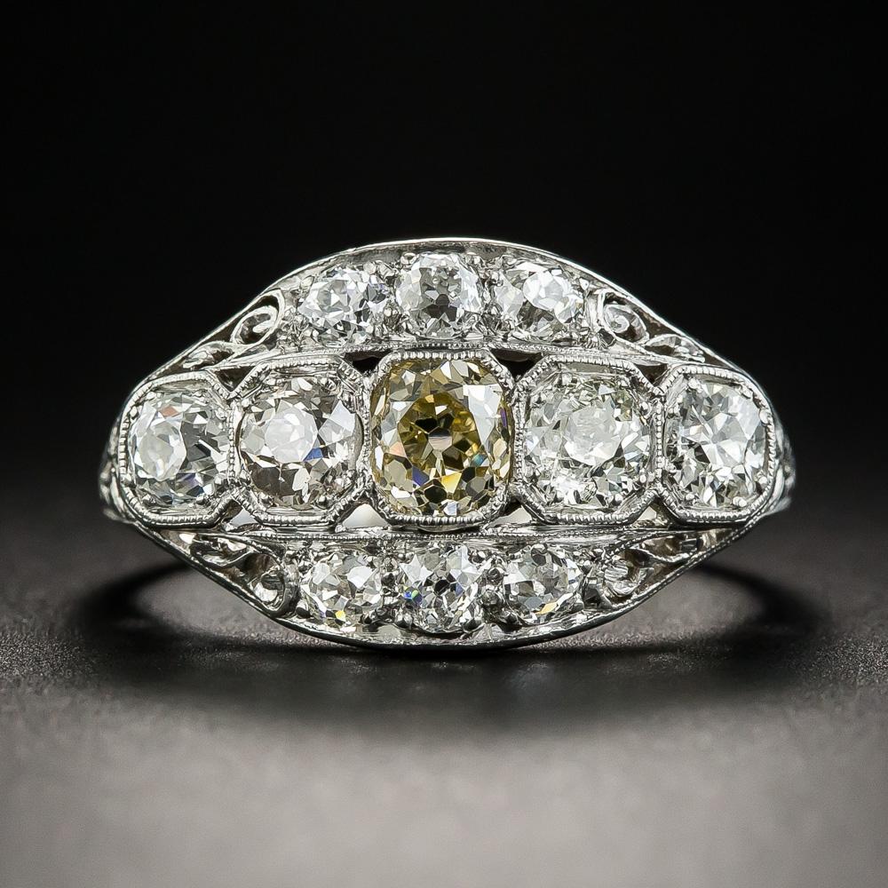 Platinum Art Deco Multi Diamond Ring Art Deco Jewelry