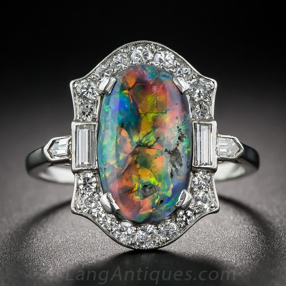 Platinum Black Opal And Diamond Art Deco Ring