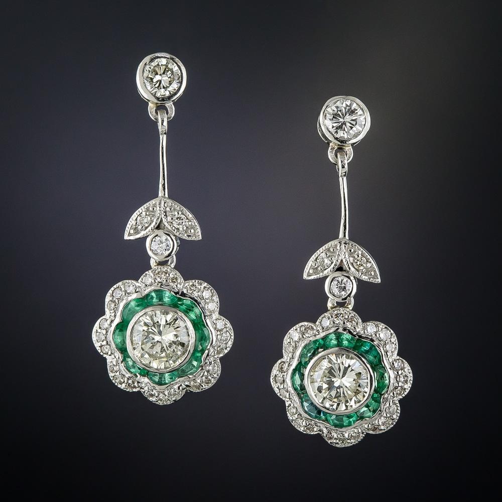 platinum diamond and emerald art deco style dangle earrings. Black Bedroom Furniture Sets. Home Design Ideas