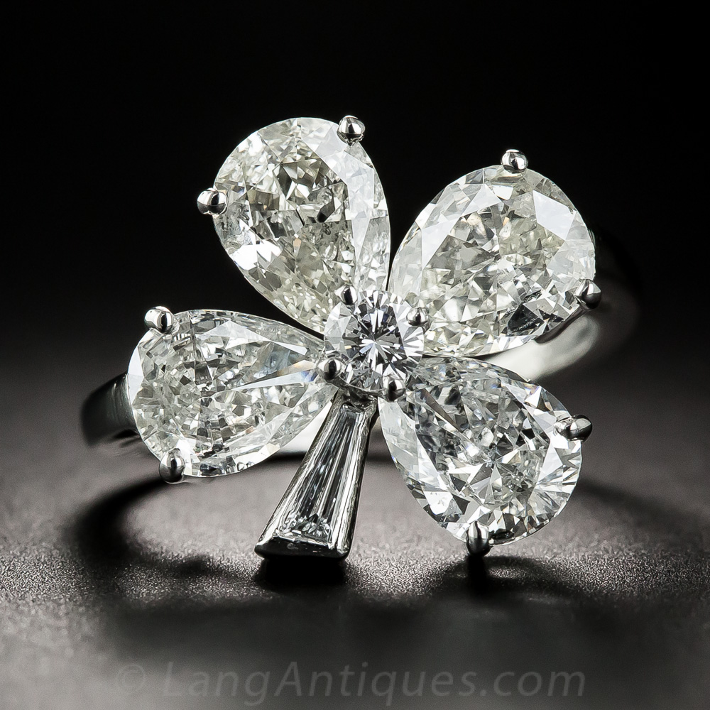 Platinum Diamond Four Leaf Clover Ring Vintage Jewelry