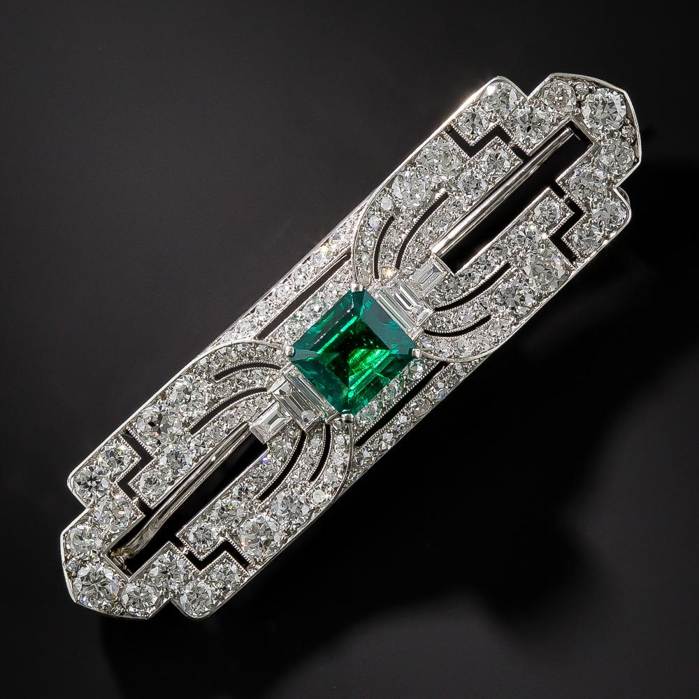 Platinum Gem Emerald And Diamond Art Deco Brooch