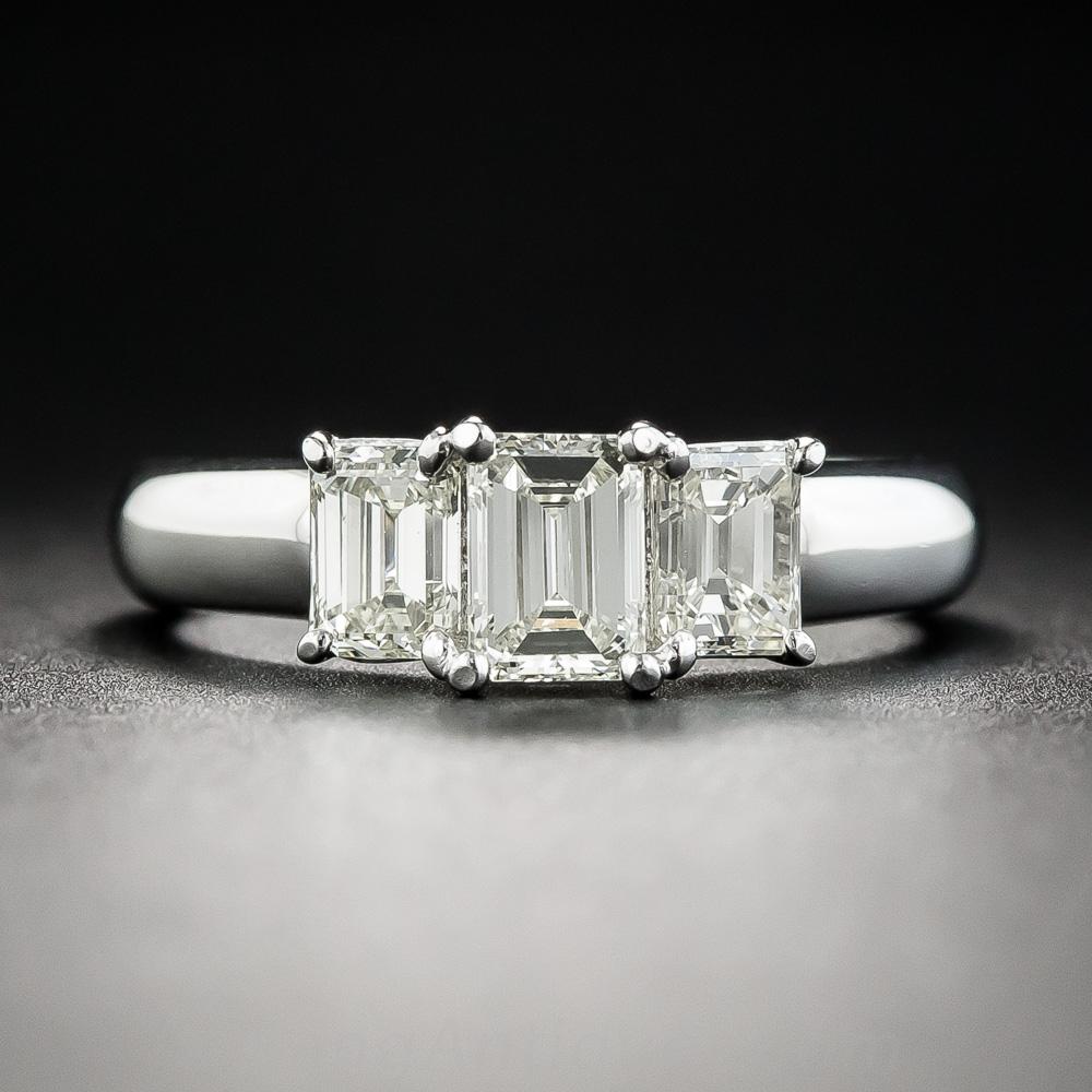 Platinum Three Stone Emerald Cut Diamond Engagement Ring