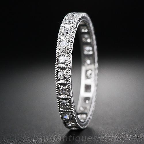 Platinum Vintage Style Diamond Eternity Band