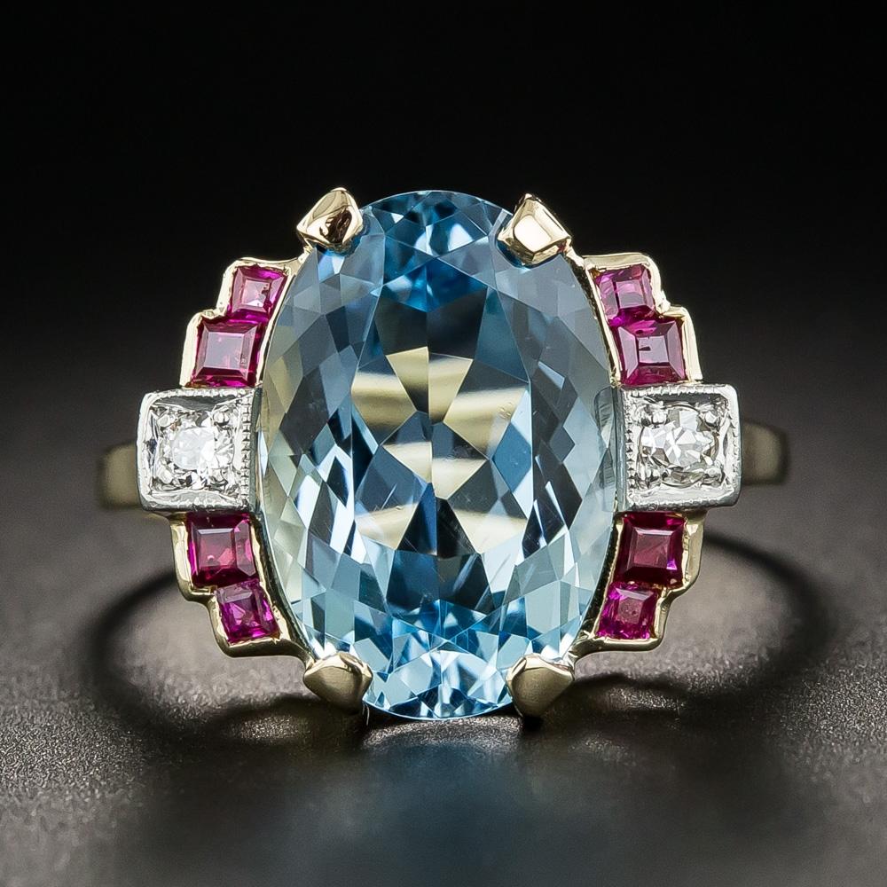 Retro Aquamarine Ruby And Diamond Ring Antique Amp Vintage