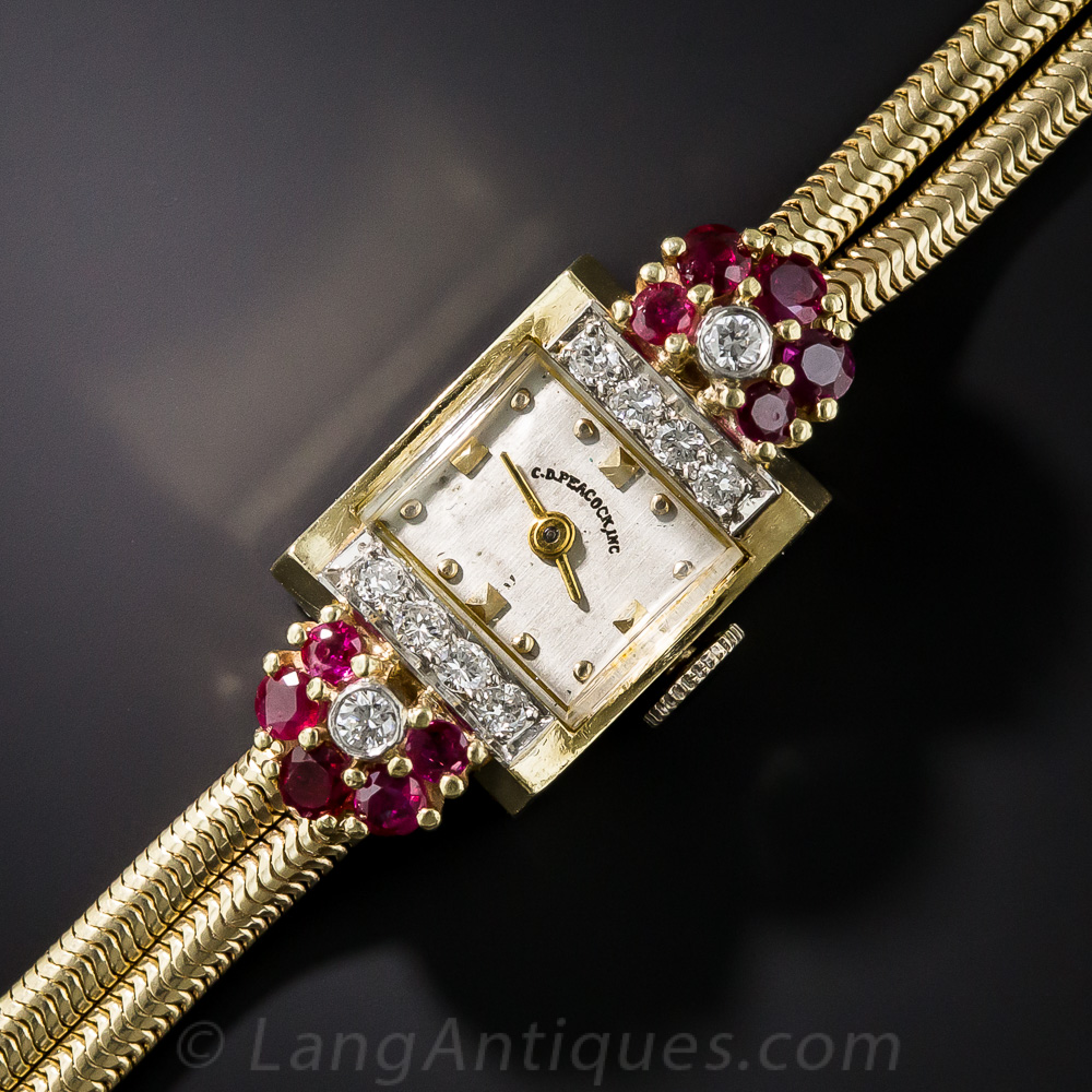Ruby And Diamond Retro Watch By C D Peacock