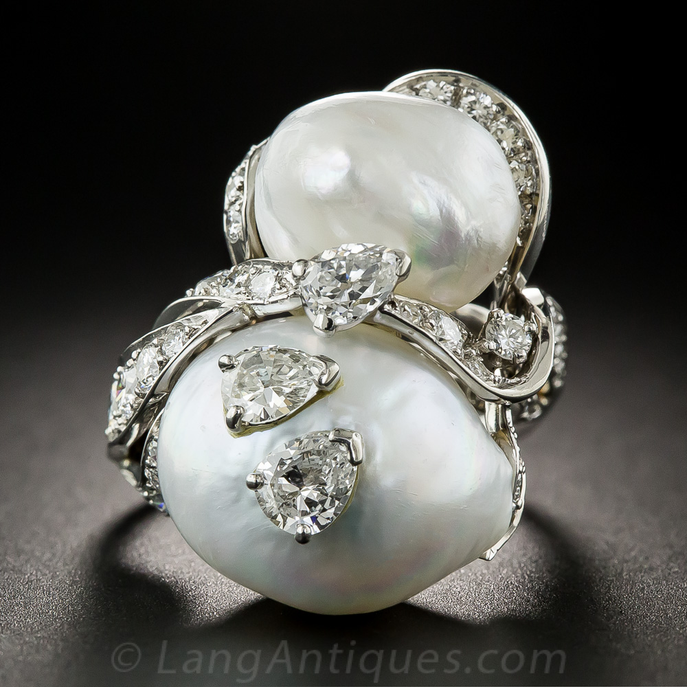 Ruser Pearl And Diamond Snowman Ring Antique Amp Vintage