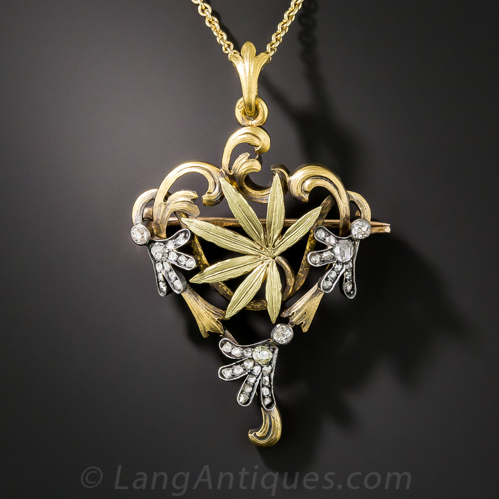 Russian Art Nouveau Cannabis Leaf Necklace Brooch