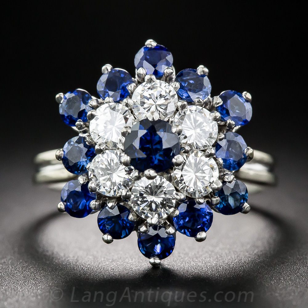 Sapphire And Diamond Flower Ring Antique Amp Vintage