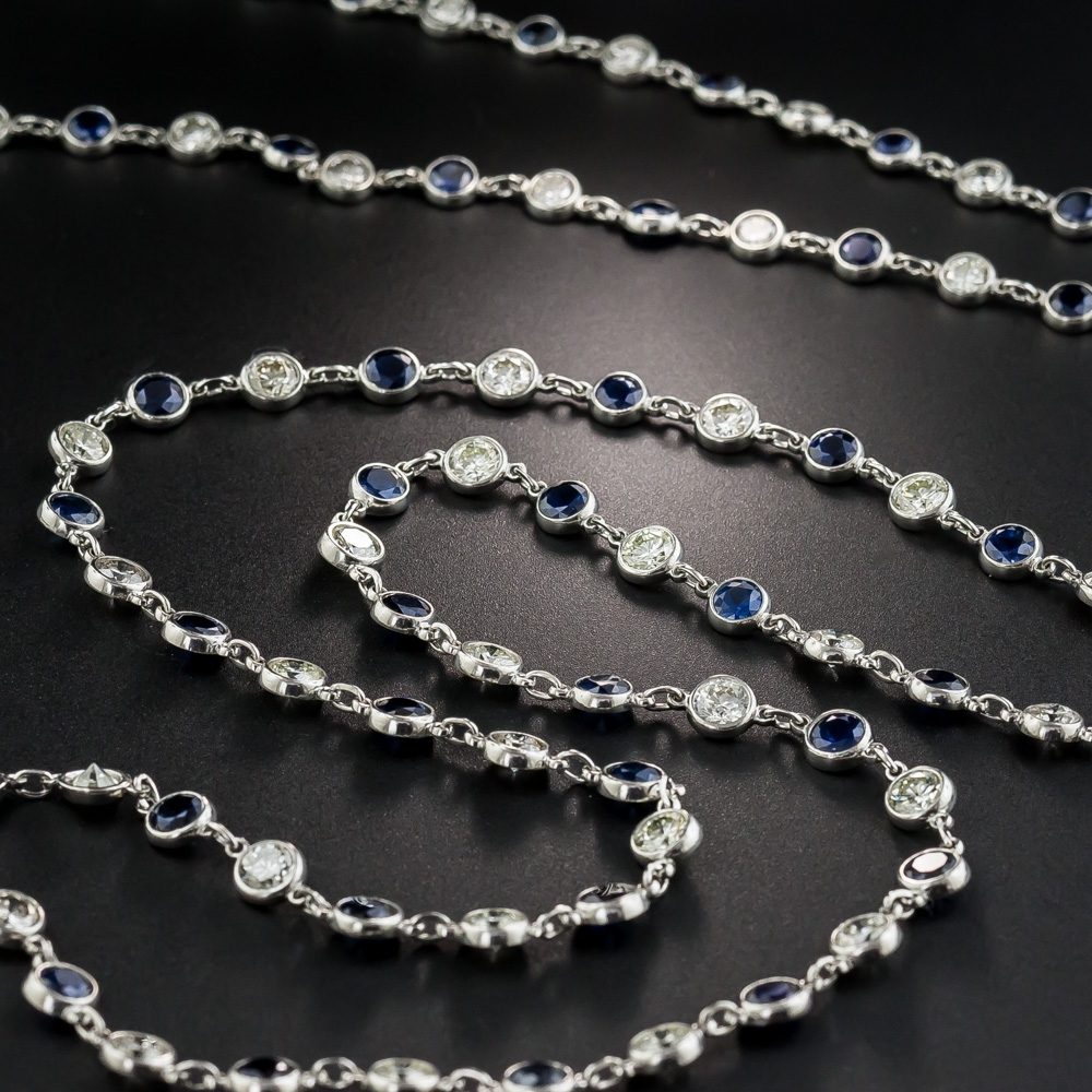 Sapphire And Diamonds By The Yard Long Platinum Chain