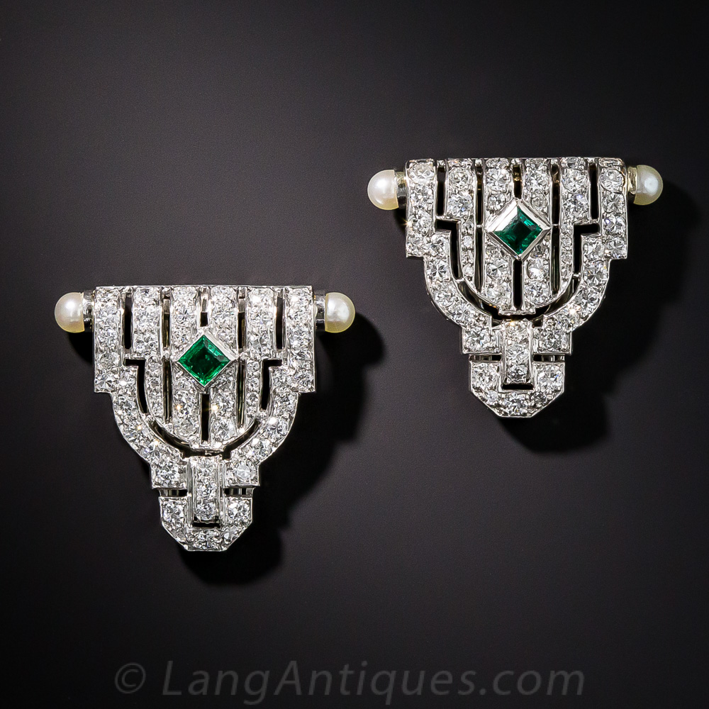 Small Art Deco Diamond And Emerald Dress Clips Gifts