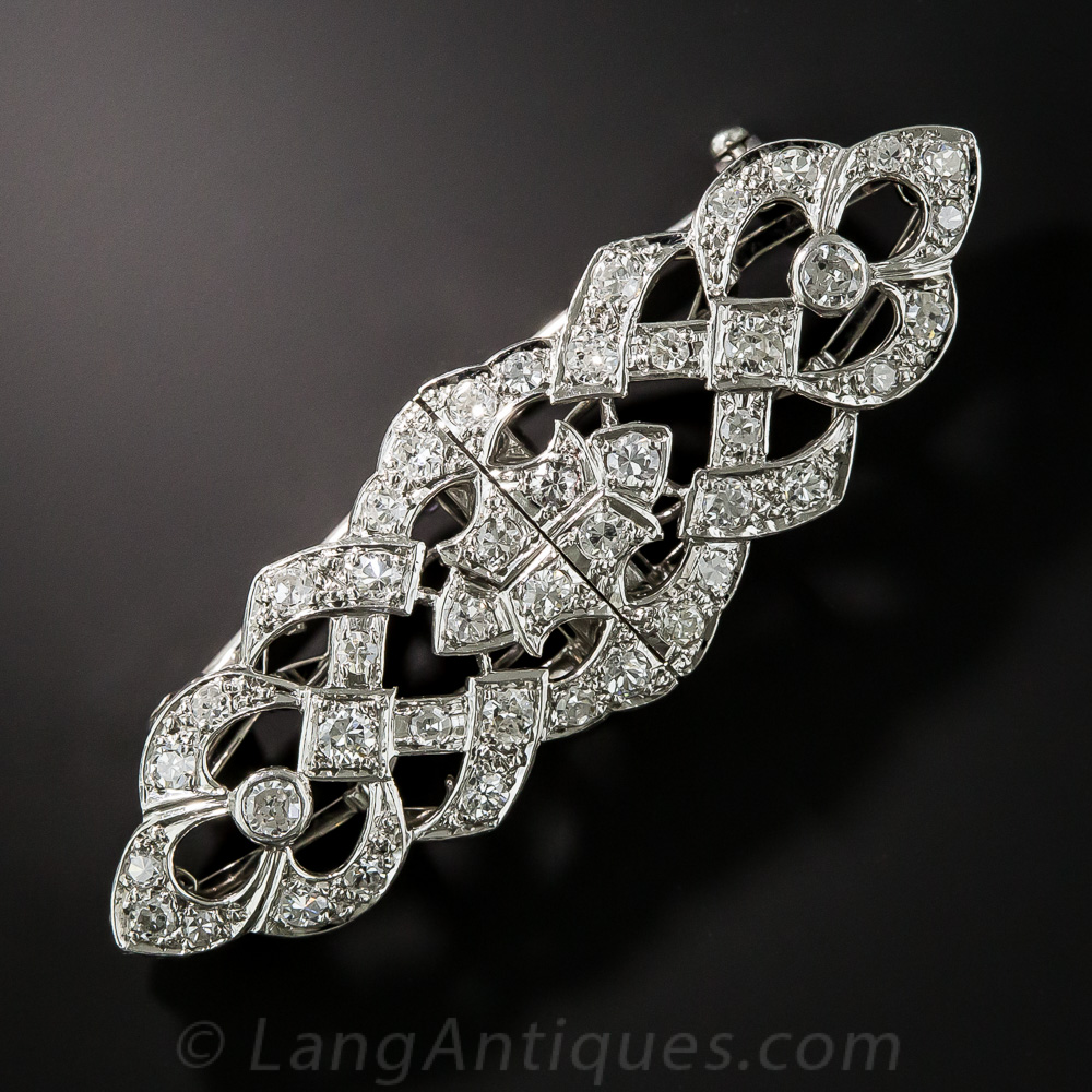 Small Art Deco Diamond Double Clip Brooch Antique