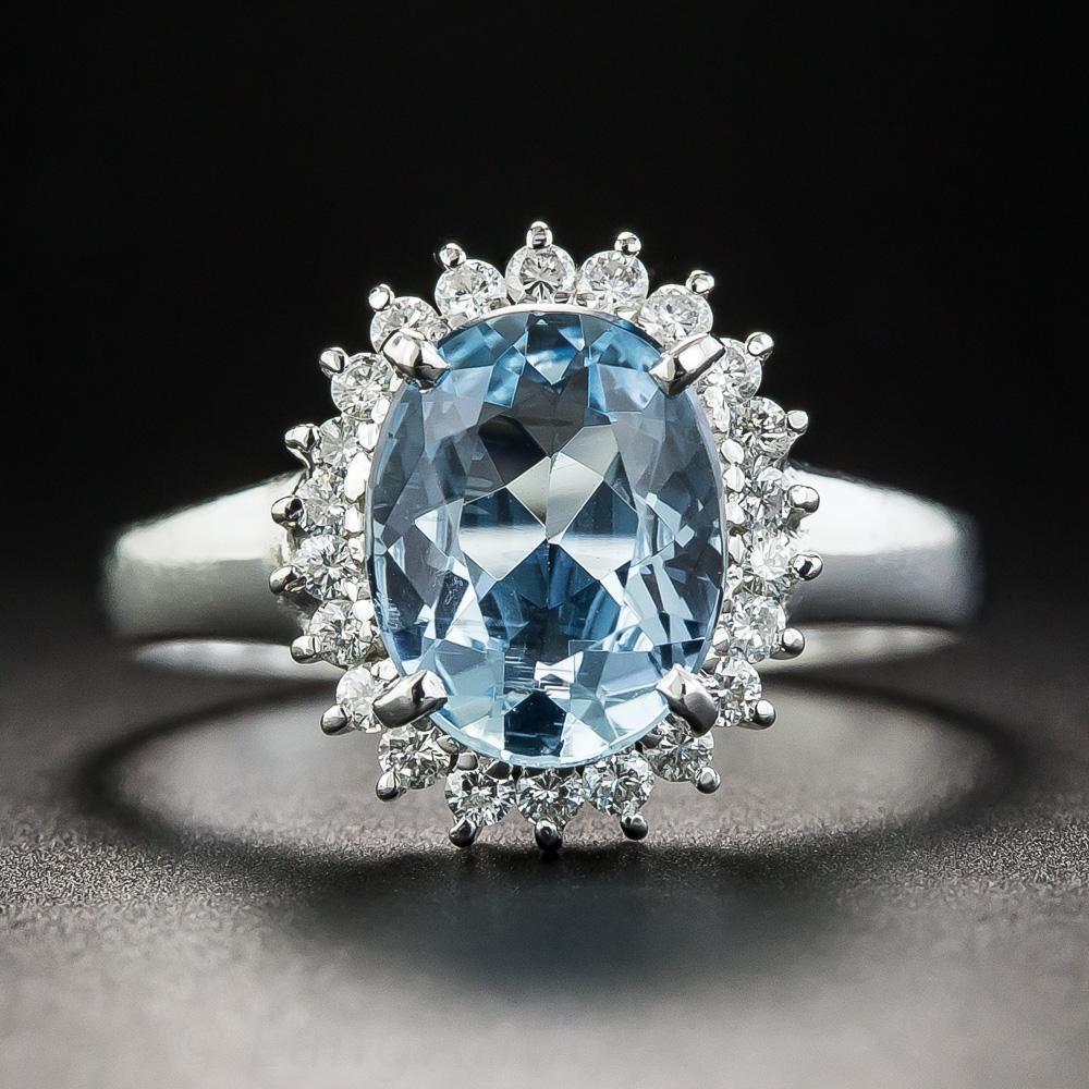 Small Platinum Aquamarine and Diamond Ring