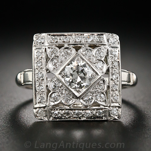 Square Art Deco Diamond Cocktail Ring
