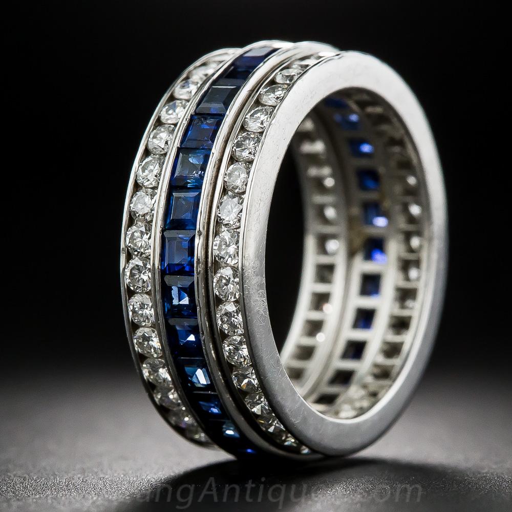 threerow sapphire and diamond eternity band