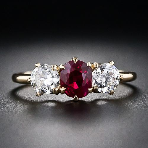 Tiffany & Co. Antique Ruby and Diamond Three Stone Ring