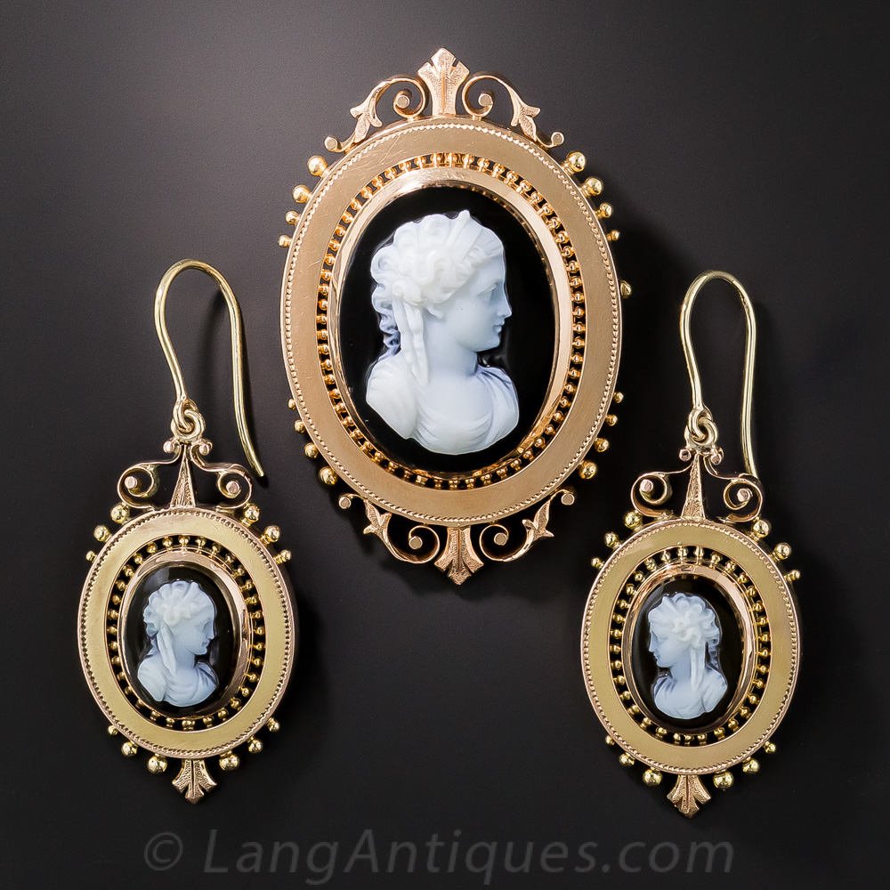 Victorian Cameo Brooch Pendant And Earring Suite In Rose