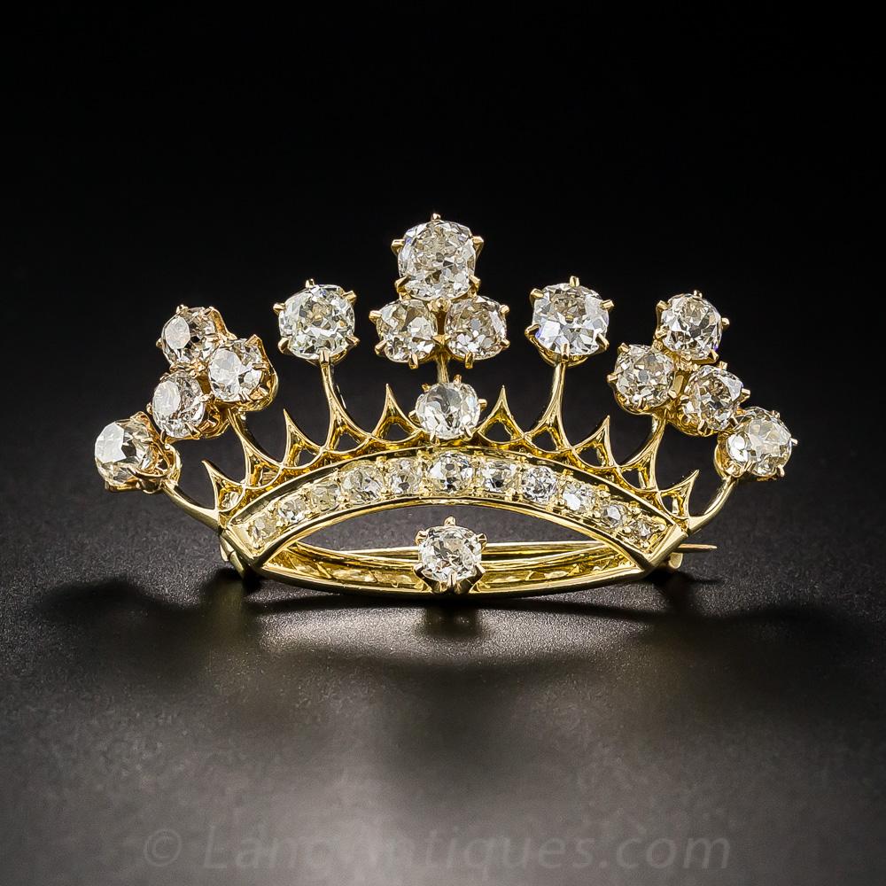 Victorian Diamond Crown Pin