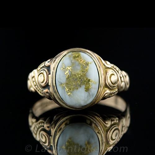 Victorian Gold Quartz Locket Or Poison Ring