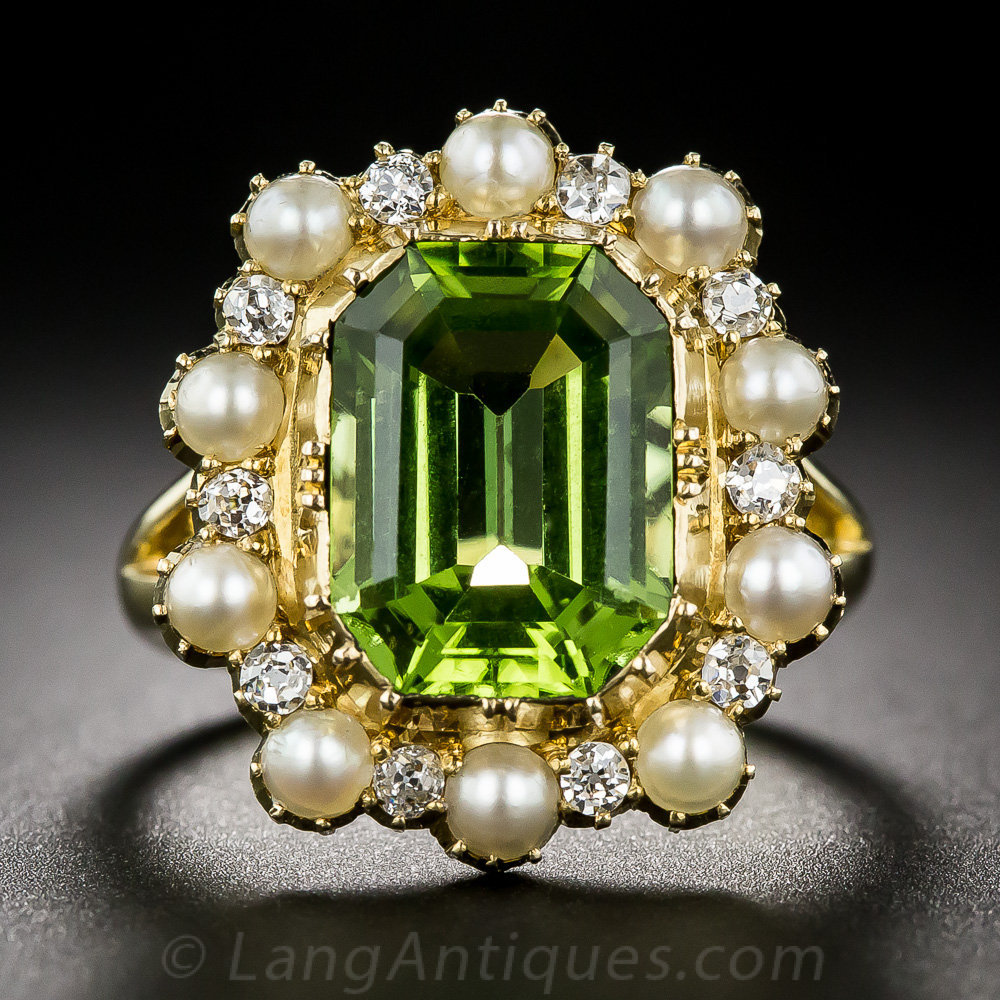 Victorian Peridot Pearl And Diamond Ring