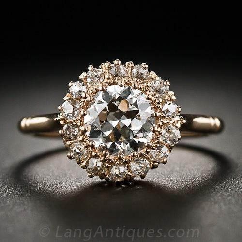 Victorian Rose Gold And Diamond Cluster Ring