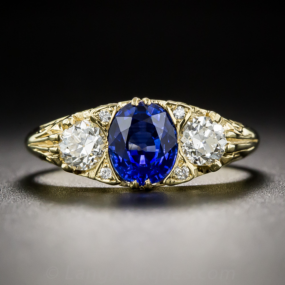 Victorian Style Sapphire And Diamond Ring Antique