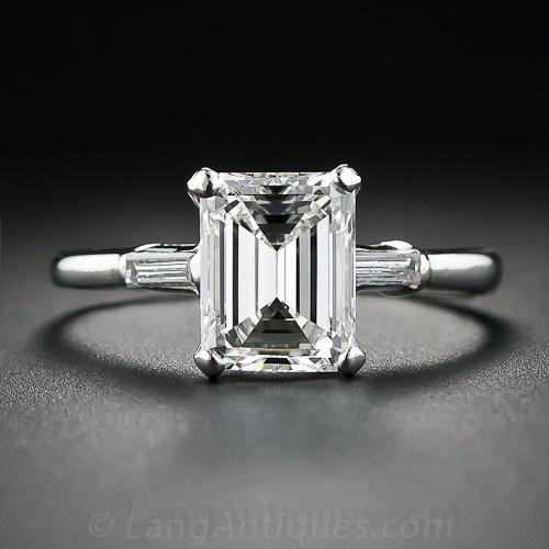Vintage 1 85 Carat Emerald Cut Diamond Solitaire
