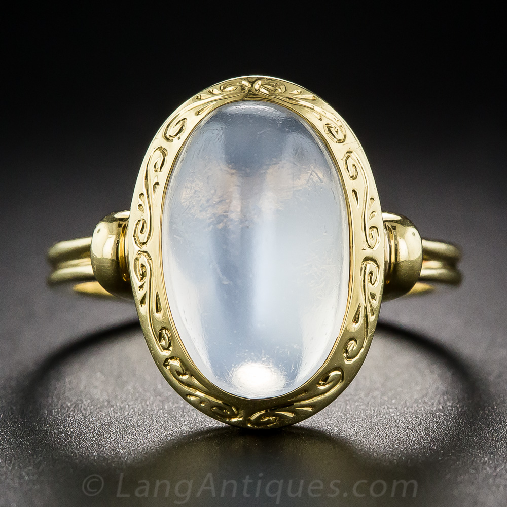 Vintage 18k Yellow Gold Moonstone Ring