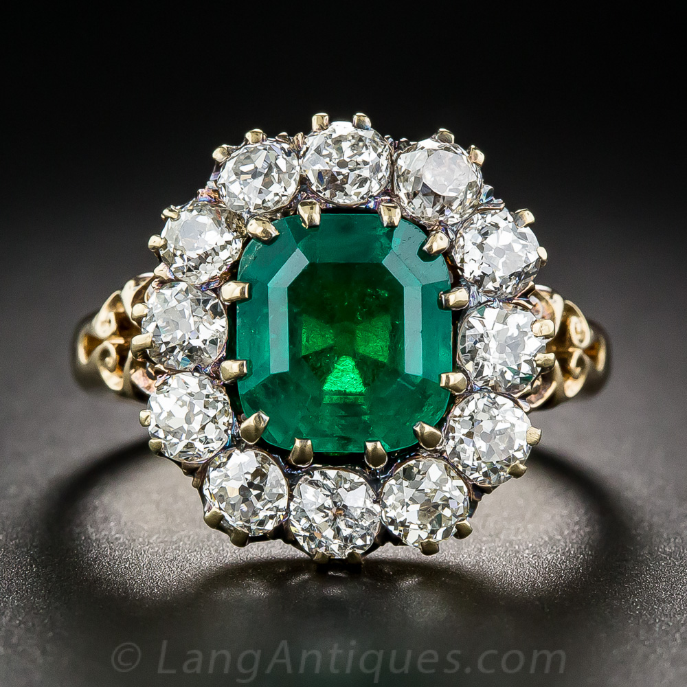 Vintage 2 75 Carat Emerald And Diamond Halo Ring