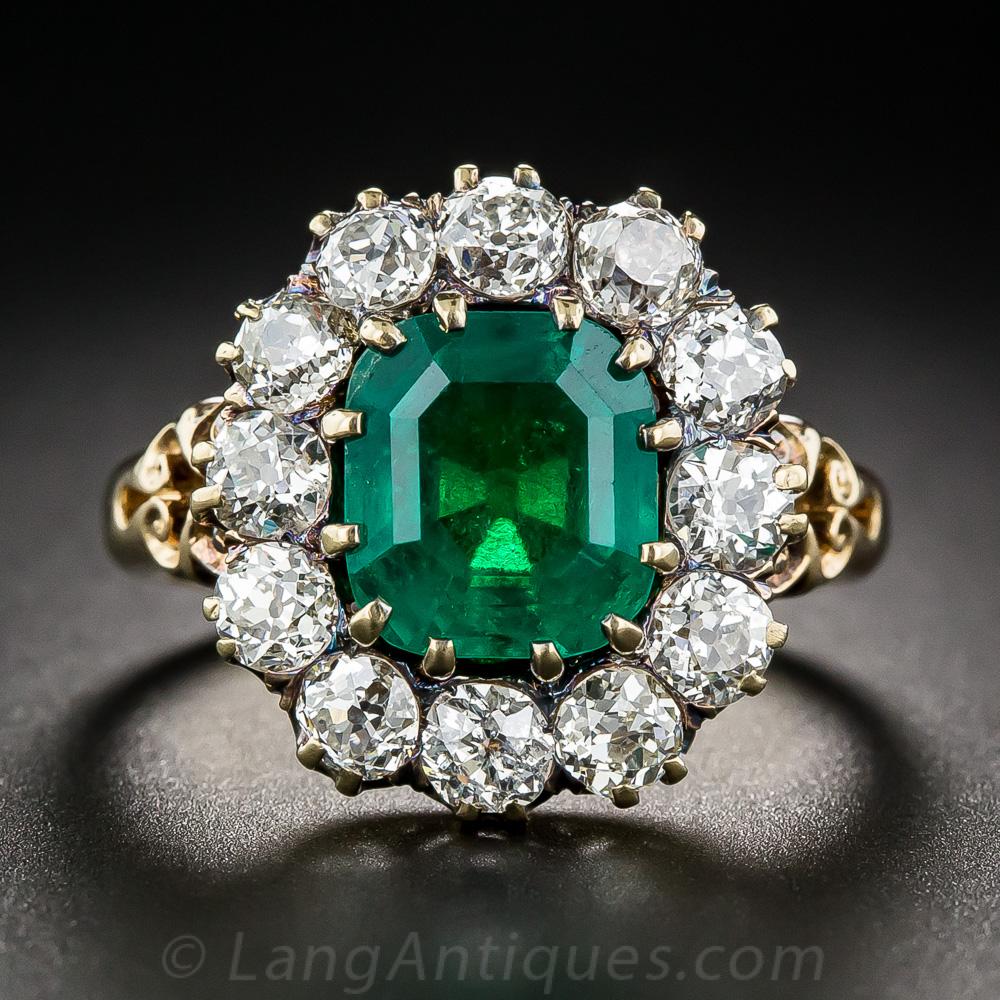 vintage 275 carat emerald and diamond halo ring