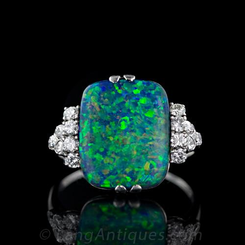 ring black diamond platinum opal engagement rings