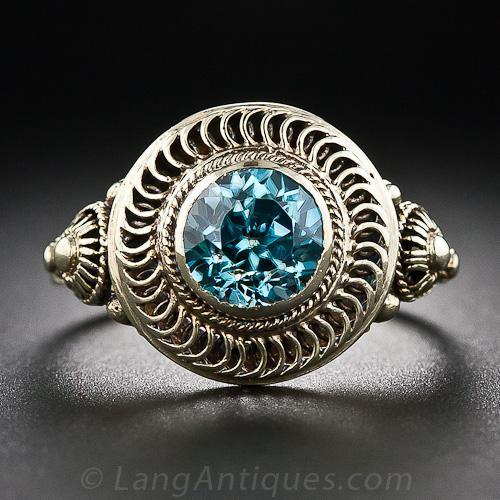 Vintage Blue Zircon Ring Antique Amp Vintage Gemstone