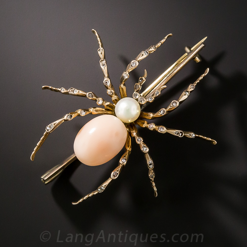 Vintage Coral And Pearl Spider Brooch