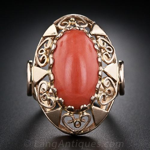 Vintage Coral Ring From Poland Antique Amp Vintage Gemstone Rings Vintage Jewelry