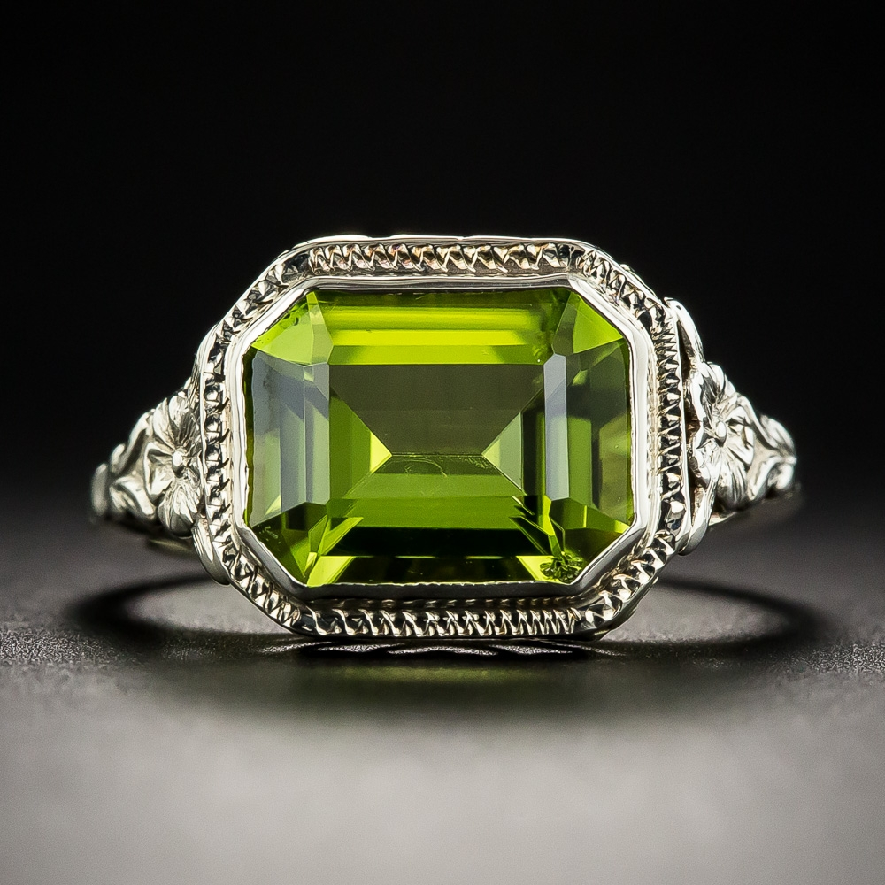 Vintage Filigree Emerald Cut Peridot Ring