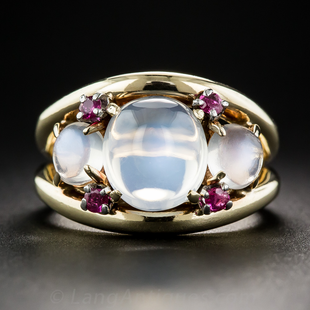 Vintage Moonstone And Ruby Ring