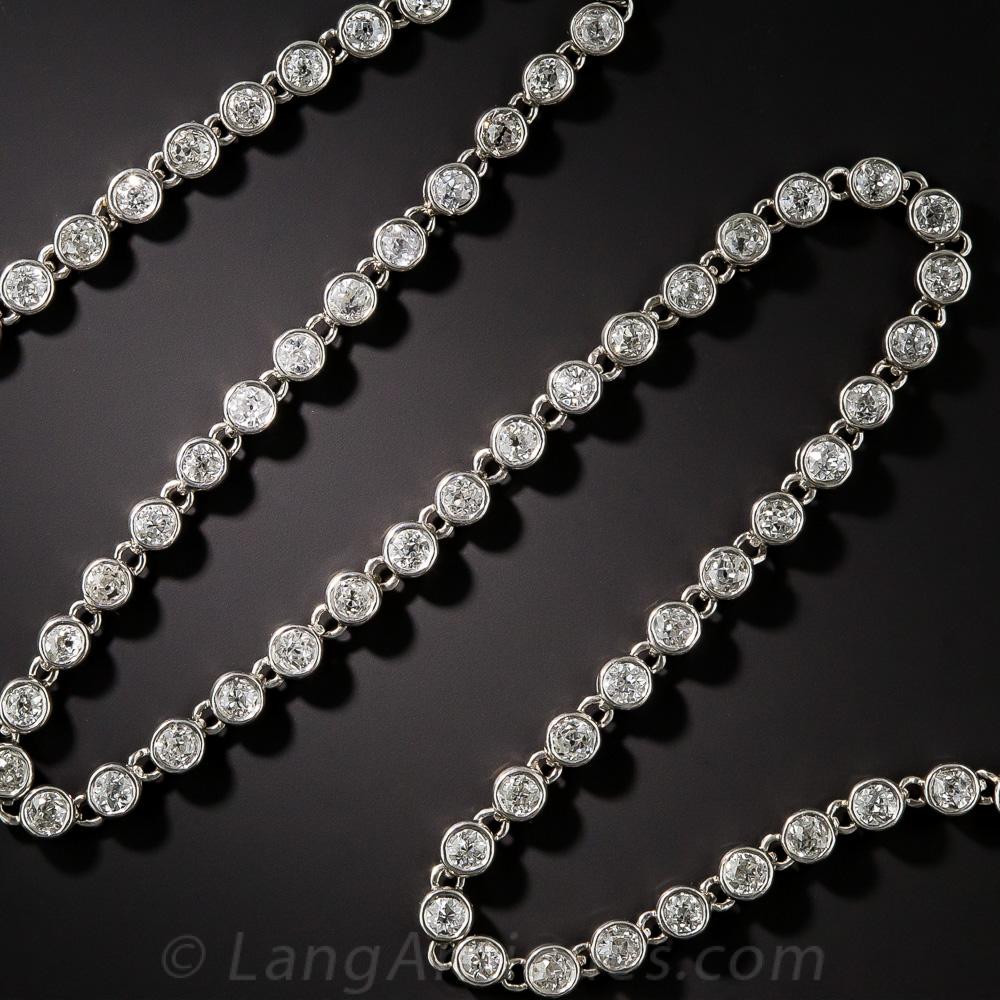 Vintage Platinum Diamond Chain Necklace