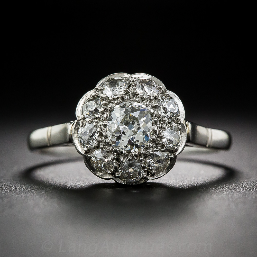 Vintage Platinum Diamond Cluster Ring