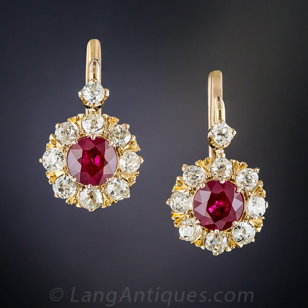 Vintage Ruby And Diamond Halo Cluster Earrings